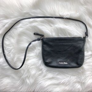 CALVIN KLEIN black textured shoulder bag purse